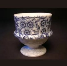 Royal Worcester 1896 (the backstamp has the addition of 5 dots) Egg Holder, Blue And White China, Egg Cups, Worcester, Art Object, Art Nouveau, Sculptures, Perfume Bottles, Objects