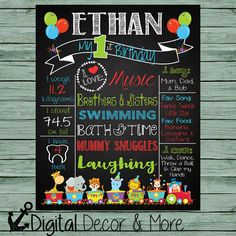 1st Birthday Chalkboard Style Poster // Circus Animals // Circus Train // Boy or Girls Birthday Poster // Customize Colors and Age