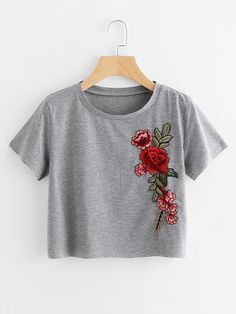 Shop Embroidered Applique Raw Trim Crop Marled T-shirt online. SheIn offers Embroidered Applique Raw Trim Crop Marled T-shirt & more to fit your fashionable needs.