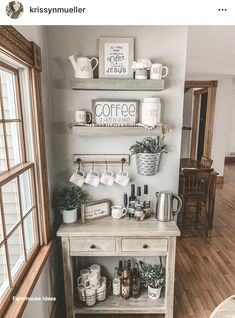 Family Home Interior Awesome Coffee Bar Ideas that Will Makes All Coffee Lovers Falling in Love TAGS: Coffee bar ideas, Coffee station kitchen, DIY Coffee bar in kitchen, Farmhouse coffee bar, Keurig station Coffee Bars In Kitchen, Coffee Bar Home, Home Coffee Stations, Coffee Shop, Coffee Coffee, Coffee Bar Design, Coffee Maker, Coffee Island, Coffee Flour