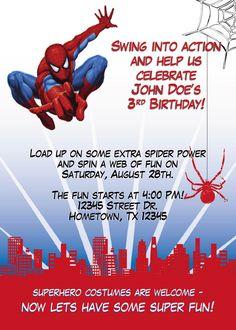 Spiderman Birthday Party | Leslie Designs Stuff: Spiderman Birthday Party Invitation