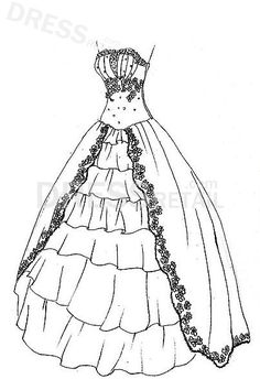 395 Best Ball gown coloring pages and embroidery patterns