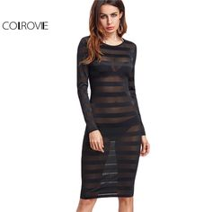 COLROVIE Sexy Mesh Dress Women Black Long Sleeve Striped Midi Bodycon Summer Dresses 2017 Fashion New O Neck Elegant Slim Dress #Affiliate