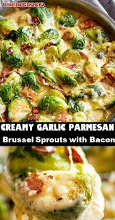 creamy garlic parmesan brussels sprouts with bacon - Healthy Recipes - Pasta Rezepte Healthy Recipes, Bacon Recipes, Veggie Recipes, Cooking Recipes, Parmesan Recipes, Vegetarian Recipes, Bariatric Recipes, Meatloaf Recipes, Meatball Recipes