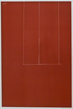 Robert Motherwell (1915-1991 American) London Series #1: Untitled 1971 Red Screenprint 25.75''x24''. Pencil signed and numbered 94 of an edition of 150 in lower margin.