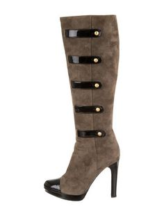 Olive green suede Fendi round-toe knee-high boots with black patent leather cap toes, covered heels, button accents and zip closures at sides.