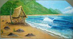 Surf Camp óleo sobre madeira