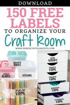 Craft Room Storage, Craft Organization, Storage Ideas, Cricut Explore Projects, Vinyl Craft Projects, Vinyl Crafts, Vinyle Cricut, Organizing Labels, Organising Ideas