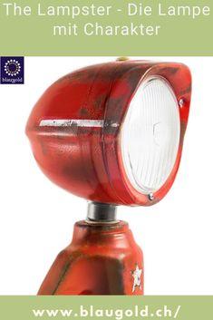 Farbe=Rot Beschreibung  Die LED-Leuchte LAMPSTER ist ein Mix aus Actionfigur und Vintage Scheinwerfer Komplett aus recycletem Material und von Hand gebaut! Ein-/Ausschalten durch Berührung bzw. Touch-Sensor am Kopf Anpassung von Helligkeit und Farbe mittels Smartphone 360° drehbarer Kopf und verstellbarer Winkel Massiv und für die Ewigkeit gebaut; rostfrei und resistent gegen Wasserspritzer. #licht #lichter #interieur #dekor Recycled Materials, Led Lamp, Aluminium, Red Color, Action Figures, Recycling, Smartphone, Vintage, Touch