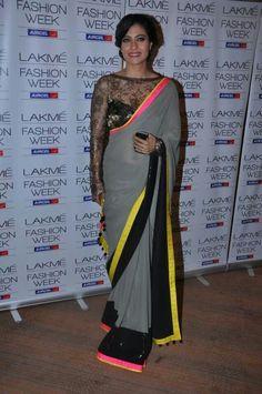 Kajol grey neon sari