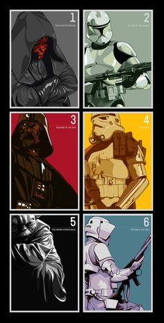 @Karen McSorley  STAR WARS COLLECTION / 6-Part Poster Series-- also going in the TV room.