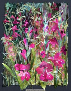 Whistling Jacks with Meadow Grasses - A gentle breeze is swaying the grasses that flower among the Whistling Jacks beside my studio. The artwork has something of this quality with the shimmering light of velvets, silks and satins.