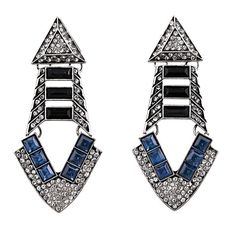 Vintage Silver Fashion Blue Crystals Triangle Women's Earrings