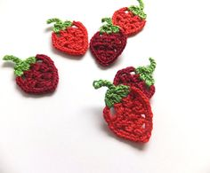 Crocheted strawberries applique, scrapbooking, embellishments, decorations /set of 6/ red, green