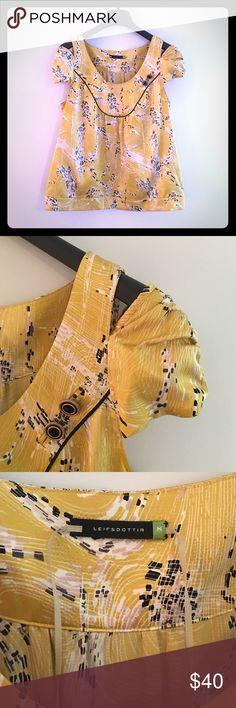 Leifsdottir beautiful golden yellow shirt Leifsdottir Size 8.  This shirt has beautiful fabric with a unique shoulder cutout detail.  So pretty!  Take advantage of bundle discounts in my closet. LEIFSDOTTIR Tops Blouses
