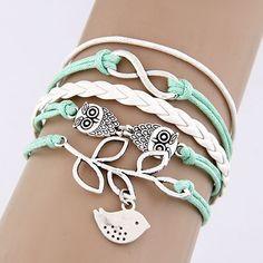 Rétro Vintage Owl Swallow feuille Fitting pendentifs accessoires corde tressée à la main multicouche Bracelets mode bijoux fantaisie(China (Mainland))