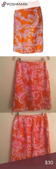 Ann Taylor Orange Pink Paisley Floral Silk Skirt 100% Silk skirt in a beautiful orange and pink paisley floral design. Excellent condition. Has a Side zip with a vent. No stretch. Similar style as Lilly Pulitzer. Ann Taylor Skirts Pencil