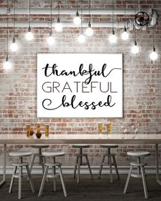 A thankful grateful blessed printable that is perfect in a frame for kitchen decor anytime or thanksgiving decorations. Thankful quotes rock.