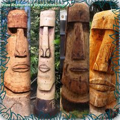 4 Moai's I carved.