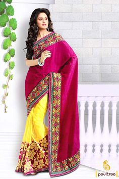 Pavitraa Dark #Pink and #Yellow Fancy #Party Wear #Sarees