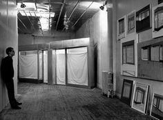 "New York City, 1966 - Christo in his studio with ""Four Store Fronts Corner, 1964-65"" - Photo: Ugo Mulas"