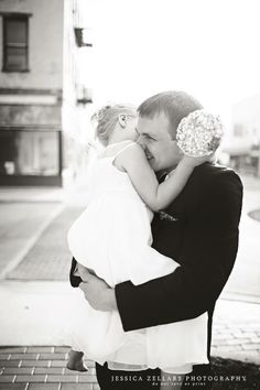 My husband and daughter. Photographer is Jessica Zellars photography in Indiana. Daddy daughter flower girl father daughter wedding photo