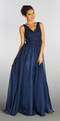 ON SPECIAL LIMITED STOCK - Sleeveless V Neck Navy Blue Bridesmaid Gown A Line Long Chiffon