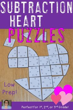 SUBTRACTION Heart Puzzles Valentine s Day Math Games for or SUBTRACTION Heart Puzzles Valentine s Day Math Games for or Heather aka HoJo hojosteachingadventures iTeach Third Valentine s nbsp hellip day crafts for graders Second Grade Math, Third Grade, Valentine Day Week, Valentines, Valentine Crafts, Math Games, Math Activities, Grandparents Day Activities, Fast Finishers