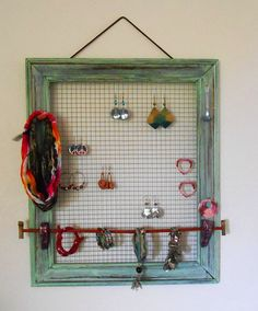 Distressed Wooden Picture Frame Jewelry Organizer by KZStudioz, $139.00