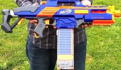 My husband hangs his Nerf Guns armory style in our bedroom. | Guns, Walls  and Display