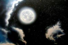 Night sky mural.  Detail of moon.  Celestial sky mural.  Mural created by Murals By Renick, Houston, TX.  (940) 230-6829, www.muralsbyrenick.com.  Houston muralist.