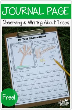 FREE Tree Journal Page - Observing and Writing About Trees - This Reading Mama Nature Activities, Writing Activities, Classroom Activities, Kindergarten Writing Prompts, Kindergarten Lessons, Literacy, Outdoor Education, Outdoor Learning, Nature Drawing For Kids