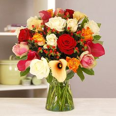 A resplendent collection of rich-hued roses and calla lilies, guaranteed to bring a burst of welcome colour to a wintery day Lily Bouquet, Calla Lily, Christmas Themes, Pretty Flowers, Presents, Table Decorations, Rose, Creative, Delivery