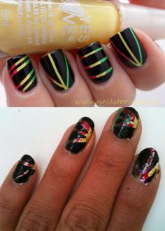 A couple things, cause your almost there. Use thin nail art tape and take it off right after you apply a thin coat of black ok. #nailartfail