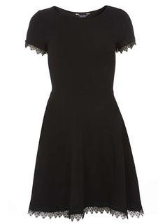 Black Lace trim dress - Dorothy Perkins