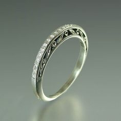 Wedding Band 14k gold and White sapphires-- soo cute and simple