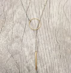 Silver Gold Bubble  Bar Necklace Brass Lariat by ArisAdonis