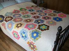 VINTAGE hand pieced hexagon patchwork newly by Timemachinequilting, £425.00