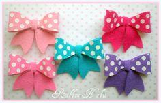Crazy for Polka Dots Wool Felt Girly Hair Bow clips by Ribbonhabit, $12.00
