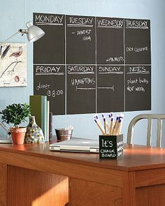 Movable chalk board stickers These new vinyl chalkboard stickers are perfect for those looking for a quick fix. Removable and repositionable, they cost $9.99 for two 9-by-12-inch sheets. Available in several colors from wallies.com. (NB: They also offer a similar dry-erase