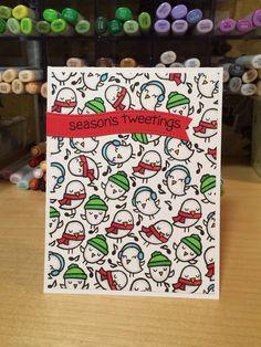 Lawn Fawn - Winter Sparrows _ adorable card by Jill via Flickr _  https://flic.kr/p/BEFsLA | Season 's tweetings card