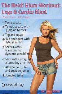 Get the HEIDI KLUM WORKOUT! Click pin to see Heidi Klum's trainer share the exact fitness routine she puts Klum through! #SkinnyMom
