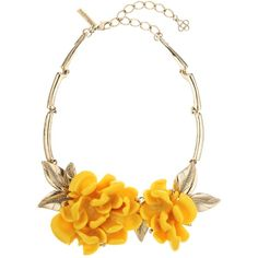 Oscar de la Renta Marigold Resin Flower & Swarovski Crystal Necklace (2.935 RON) ❤ liked on Polyvore featuring jewelry, necklaces, jewels, oscar de la renta, yellow, floral statement necklace, chain statement necklace, floral necklace, anchor chain necklace and yellow flower necklace