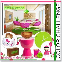 """""""Color Challenge: Pink and Green"""" by ambervogue on Polyvore"""