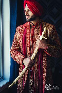 Aman Jarnail | Toronto Wedding by I Alam Photography, Part 1 of 2 Sherwani Groom, Wedding Sherwani, Sikh Wedding, Punjabi Wedding, Tuxedos, Farm Wedding, Wedding Couples, Boho Wedding, Wedding Reception