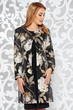 StarShinerS black trenchcoat elegant straight from jacquard with lame thread with inside lining, inside lining, straight cut, lame thread, jacquard, fabric with print obtained by braided yarns with natural fibers, long sleeves, metal eyelets fastening