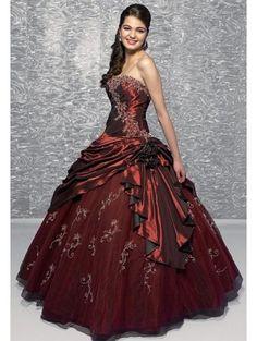 Rouge Broderie gothique Robe de mariée