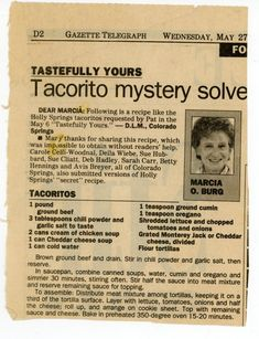 """Tacorito- Tastefully Yours"" personally I'd reserve the lettuce, serve on side. Retro Recipes, Old Recipes, Vintage Recipes, Beef Recipes, Great Recipes, Cooking Recipes, Favorite Recipes, Recipies, Hamburger Recipes"
