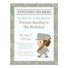 Army camouflage soldier kids birthday party card army camouflage cute camo military print army boy birthday party card bookmarktalkfo Image collections