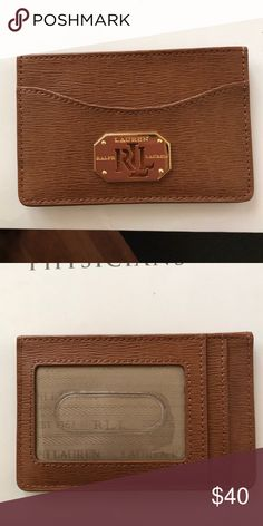 Ralph Lauren Cardholder Tan brown Saffiano Leather with gold hardware, new with tags Ralph Lauren Accessories Key & Card Holders